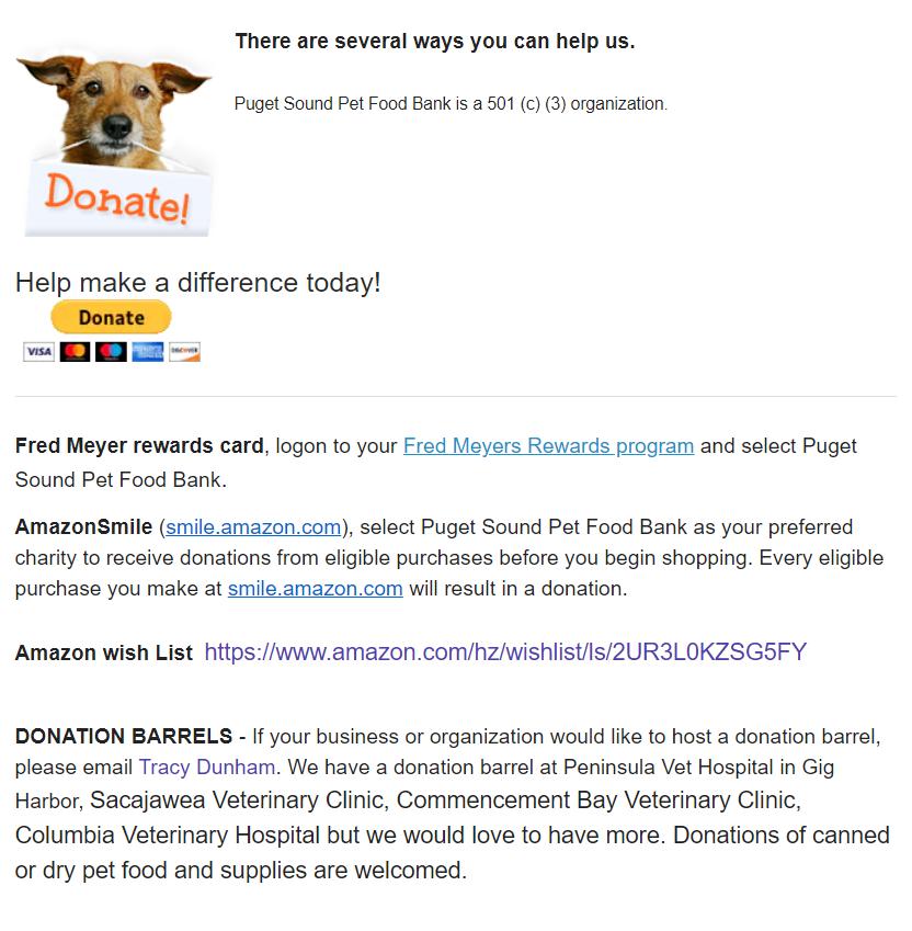 Puget Sound Pet Food Bank highlight 2